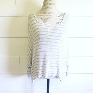 Final Touch Tops - white and gray striped batwing top